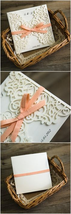 white and peach laser cut wedding invitations for spring summer 2016