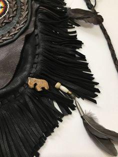 Handmade Leather Fringe Purse Bag Black Brown Boho Handbag Gypsy OOAK