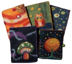 beautiful wet and needle felted journal covers