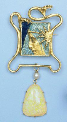 Art Nouveau Plique-à-Jour Enamel, Pearl, Opal, and Gold Female in Serpents Brooch (c.1900) by René-Jules Lalique, Paris