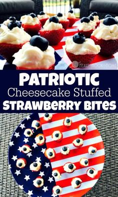 Patriotic Cheesecake Stuffed Strawberry Bites Recipe And July, Fourth Of July, A Food, Good Food, Yummy Food, Appetizer Recipes, Dessert Recipes, Appetizers, Gf Recipes