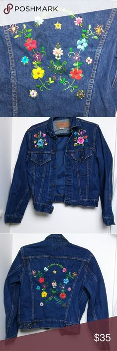 Embroidered Levi's jacket This cute, vintage inspired piece is made with a medium dark wash denim, has a cute, sequined and beaded embroidered design on either breast and a bigger one on the back. Was tumble dried last so it may need an ironing to flatten the collar. Buttons down for closure and has buttons on the cuffs as well. Also features buttons on the back for adjustable waist width. Great layering piece. Levi's Jackets & Coats Jean Jackets