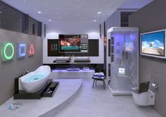 this would be cool for a teens bathroom:) very technologic