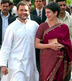 Priyanka Vadra in a maroon sari&Her brother Ragul Gandhi Mom Haircuts, Sonia Gandhi, Indira Gandhi, Simple Sarees, Brave Women, Amazing Shopping, Diva Fashion, Saree Styles, Saree Collection