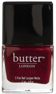"""Chancer nail lacquer from Butter London- """"Wear this deep, 'crushed glitter' red nail lacquer when you are feeling particularly out of his league. He doesn't deserve you anyway."""""""