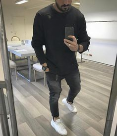Distressed long sleeve jeans and sneakers by @vincenzoragnacci [ http://ift.tt/1f8LY65 ]