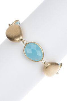 Rivka Friedman 18K Gold Clad Faceted Caribbean Blue Quartzite & Satin Pebble Bracelet on HauteLook