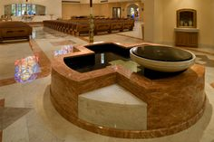 Custom marble baptismal font for St. Paul the Apostle, Nassau Bay, TX. New church interior design and decoration by Rohn & Associates Design. Church Interior Design, Church Design, Church Architecture, Modern Architecture, Paul The Apostle, Modern Church, Master Plan, Catholic Churches, Blank Canvas
