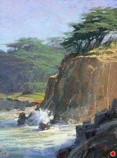 Coastal Spray by Kim Lordier Pastel ~ 12 x 9 Pastel Landscape, Watercolor Landscape, Landscape Art, Landscape Paintings, Landscapes, Stair Art, Chalk Pastel Art, Ocean Canvas, Watercolor Pictures