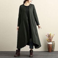 Long Sleeve Buttons Trim Loose Hem Green Cardigan Coat For Women