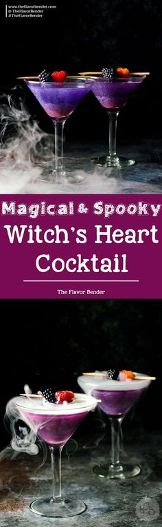 The Witch's Heart Cocktail – A dreamy, whimsical and magical Halloween Cocktail made with Blackberry Shimmery liqueur! Are you brave enough to drink The Witch's Heart? via @theflavorbender