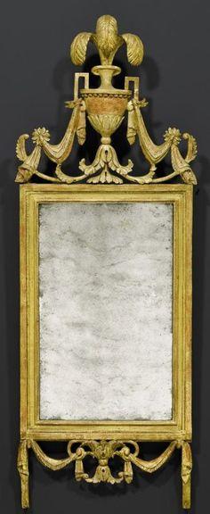 MIRROR, Louis XVI, northern Italy circa 1800. Pierced and carved gilt wood. H 116 cm, W 44 cm.