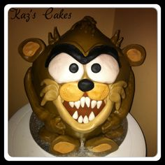 My #Taz #cake. Chocolate mud cake with white chocolate ganache, covered & decorated with #MMF.