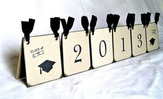 Graduation centerpiece, vintage inspired 2013 black tent decoration, dual sided (Made to order)
