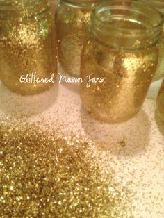 glittered mason jar DIY, hello x-mas and new years decor #lulusholiday
