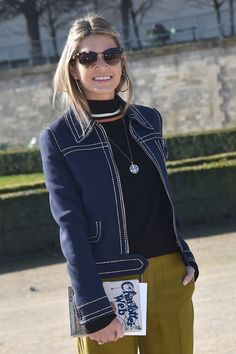 Pin for Later: The Best Street Style Accessories We Saw at Paris Fashion Week PFW Day Three Helena Bordon wearing a Charlotte Olympia clutch