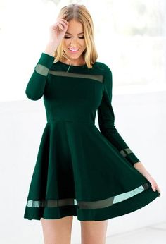 Dress // Stay elegant even at a cocktail party by wearing this dark green mesh panel skater dress.