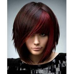 Attractive Red Highlight Straight Fashion Medium Full Bang Heat Resistant Fiber Wig For Women (RED) in Synthetic Wigs | DressLily.com