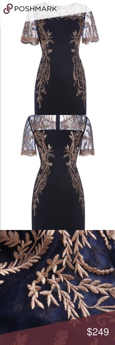 Sheath dress with embroidered lace accent Sheath dress with embroidered lace accent. 100% polyester. Fabric has no stretch.  Length is approximately 34 in. New without tags. Never worn. Ships within 7 business days Fox&Lace Dresses