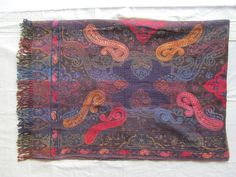 BOILED WOOL SHAWL PAISLEY HAND EMBROIDERY DESIGN JAMAWAR CASHMERE THROW BED 3980