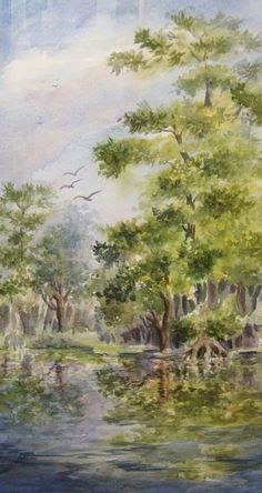 Cypress Reflections, 13 x 23 Original Watercolor by Roxanne Tobaison