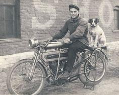 Vintage motorcycle, vintage motorcyclist, vintage motorcyclist's dog...