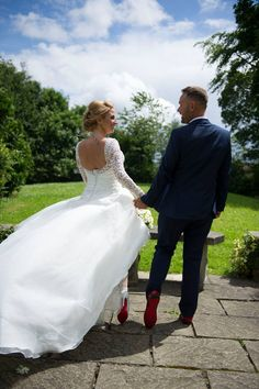 Love this shot of Dawn and Luke on their big day! Great way of showing off your Louboutins! Couple Photography, Wedding Photography, Videography, Wedding Couples, Big Day, Photo Booth, Dawn, Film, Wedding Dresses