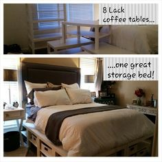 Lack table storage bed!