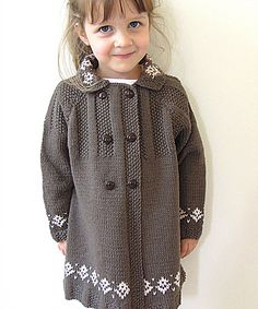 This double breasted coat is sure to be a winner with any little girl, comfortable, cozy and very fashionable. I would class this pattern suitable for the Intermediate knitter - I am happy to help with any questions you may have.