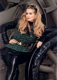 """designerleather: """" One of my favorite Claudia Schiffer shots - Chanel FW 92/93 """" Selling this jacket and pair of pants from the same collection - One of my favorite Chanel outfits of all time"""