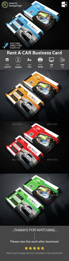Rent A Car Business Card Business Cards Renting And Business - Automotive business card templates