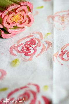 Making a cabbage rose print using celery from Lucy at Craftberry Bush blog.