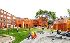 Completed in 2014 in Copenhagen, Denmark. Images by Rasmus Hjortshõj. Five small houses with a unique brick cladding and green roofs and roof gardens create the fra- mework for Copenhagen's new kindergarten. Kindergarten Pictures, Kindergarten Design, Brick Cladding, Brickwork, Landscape Architecture, Landscape Design, Nice Landscape, Architect Logo, Architect House