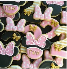 "I Bake, You Bake on Instagram: ""When you're turning two, having a golden birthday and love Minnie Mouse, you celebrate with gold and pink Minnie Mouse cookies. #baking…"""