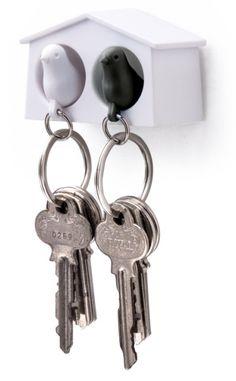 Qualy MINI sleutelkastje 2 vogels wit/zwart