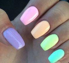 nails rainbow pastel - nails rainbow ` nails rainbow pastel ` nails rainbow acrylic ` nails rainbow tips ` nails rainbow ombre ` nails rainbow glitter ` nails rainbow french ` nails rainbow design Rainbow Nails, Neon Nails, Diy Nails, Swag Nails, Cute Nails, Glitter Nails, Rainbow Pastel, Pastel Purple, Pink Blue