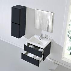 ARIZONA 600mm Wall Hung Black Gloss Basin Vanity Unit + Side Cabinet