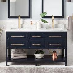 Robertson Mahogany Console Double Vanity for Rectangular Undermount Sinks - Midnight Navy Blue - Bathroom furniture Blue Bathroom Vanity, Navy Blue Bathrooms, Blue Vanity, Vessel Sink Vanity, Double Sink Vanity, Marble Vanity Tops, White Bathroom, Double Sinks, Bathroom Mirrors