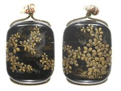 A small black lacquer two-case inro By Jusensai Nobusada, 19th century Of oval form, the roiro ground embellished with mura-nashiji, lacquered with a continuous design of hagi (bush-clover), against the full moon, in gold and silver takamakie, the moon of rogin togidashi and the interior of nashiji with kinji edges, signed Nobusada with kao; with a small lacquered ivory double gourd ojime.