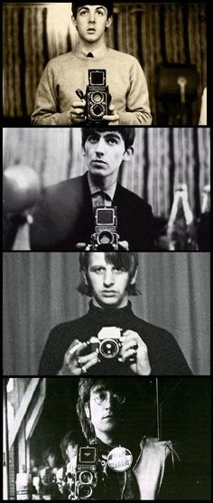 Paul Mccartney, George Harrison and Ringo Starr were already taking pictures in the mirror before it became fashionable. Ringo Starr, George Harrison, Foto Beatles, Beatles Love, Beatles Photos, Beatles Guitar, Paul Mccartney, John Lennon, Pop Rock