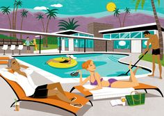 Cool place to get your very own Palm Springs mid-century modern lifestyle illustration