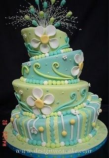 Topsy Turvy Pastel Cake--not a fan of the colors but I LOVE the design of the cake and all of the little decorations!!