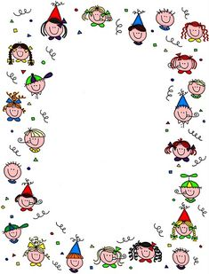 Kids Faces. Borders For Paper, Borders And Frames, Clipart, Kindergarten Portfolio, Diy And Crafts, Crafts For Kids, School Frame, Page Borders, Note Paper