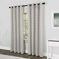 "Exclusive Home Baroque Textured Linen Look Jacquard Grommet Top Window Curtain Panels 54"" X 96"", Dove Grey, Sold as Set of 2 / Pair"