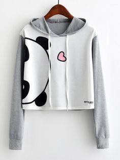 Контрастный модный свитшот с капюшоном и принтом