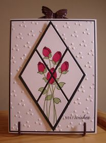 handmade greeting card from My Stamping Addiction ... embossing folder texture ... diamond with a split panel ... rosebuds ...