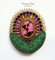 """Handcrafted brooch/pendant transformer """"Flower"""" made with colored Turquoise…"""
