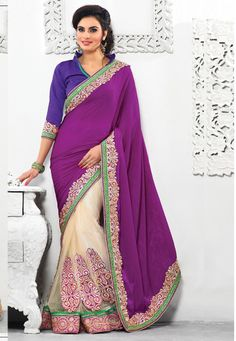 Look gorgeous in this !Purple And Cream #Velvet Pallu And Soft #Net Saree designed with Zari,Resham Embroidery with Stone work and patch patta Work. As shown Purple #Dhupion Blouse fabric is available which can be customized as per requirements.   INR :-5030 With exciting Flat 25% discount!