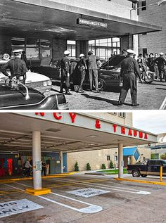 JFK's limo at the Parkland hospital emergency entrance Nov. 1963 and the same location at Parkland today. Los Kennedy, John F Kennedy, John Connally, Parkland Hospital, Us History, American History, Dealey Plaza, Then And Now Photos, Kennedy Assassination