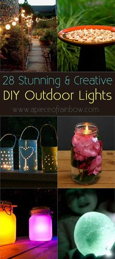 28 Stunning DIY Outdoor Lighting Ideas ( & So Easy! ) Amazing collection of 28 stunning yet easy DIY outdoor lights! Most can be made in 1 hour, with up-cycled or common materials. So creative and beautiful! - A Piece Of Rainbow Hanging Mason Jar Lights, Mason Jar Lighting, Diy Hanging, Candle Lighting, Backyard Lighting, Porch Lighting, Outdoor Lighting, Garden Lighting Ideas, Outside Lighting Ideas